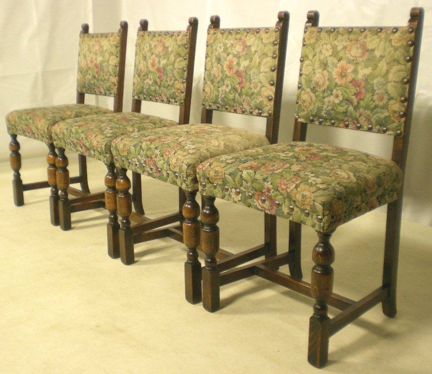 Jacobean Dining Chairs Of Four Jacobean Style Upholstered Dining Chairs Sold